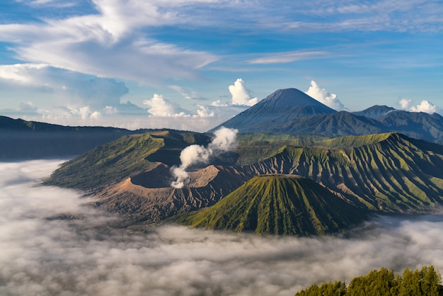 霧の山岳風景