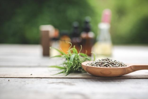 Конопля, семена конопли, конопляное масло размещены на деревянный пол с зеленым деревом на заднем плане.