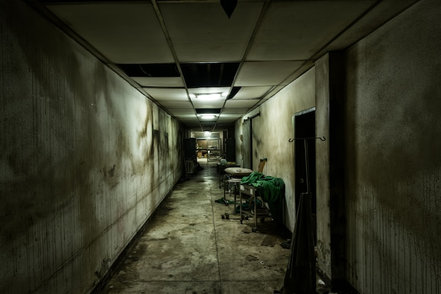 精神病院の放棄された路地