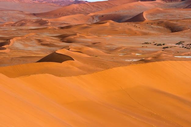 ナミビアのナミブナウクルフト国立公園ソススフレイのナミブ砂漠にあるオレンジ色の砂丘のオレンジ色の砂の美しい風景。