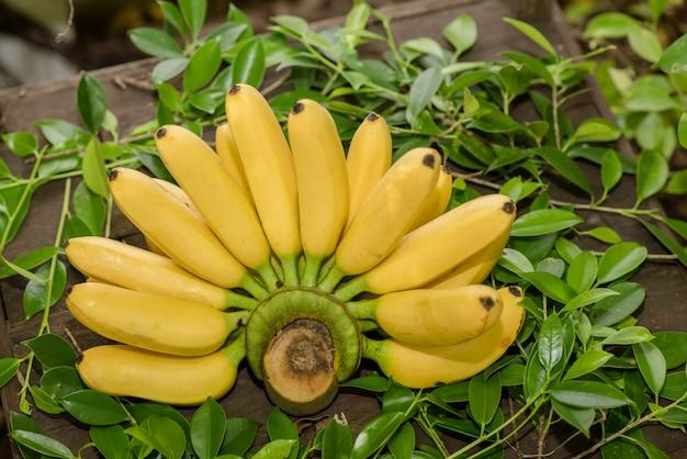 テーブル上の新鮮なバナナ