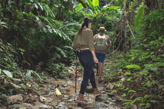 Туристы мужского и женского пола наслаждаются лесом.