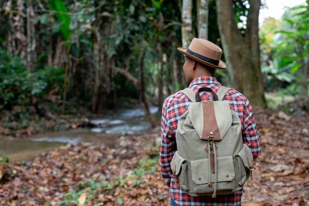 Мужчины туристы наслаждаются лесом.