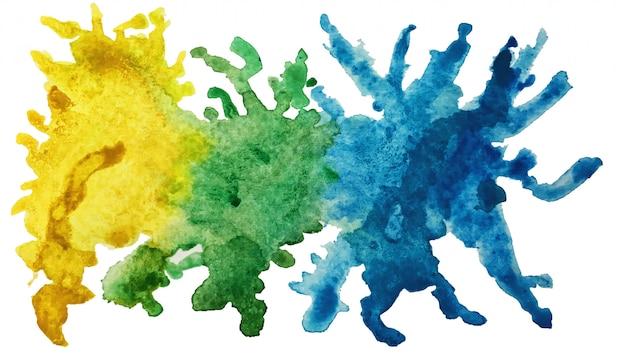 カラフルな明るいインクとホワイトペーパーの背景に水彩画のテクスチャの抽象芸術