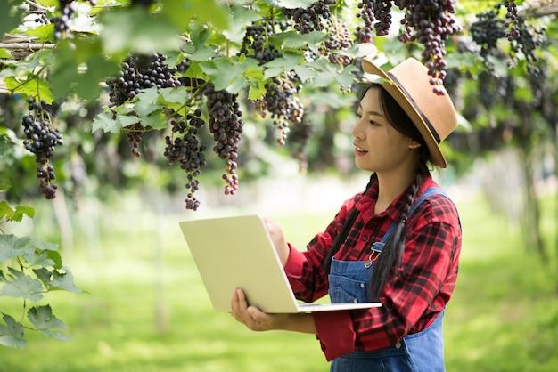 熟した青いブドウの枝を持って幸せな若い女性庭師