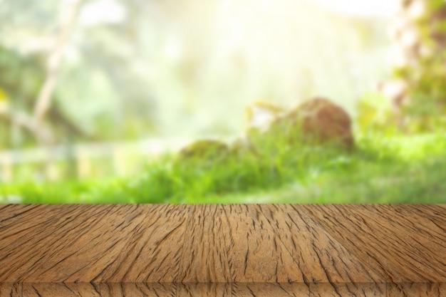 木製のテーブル、デザインのビューの背景。