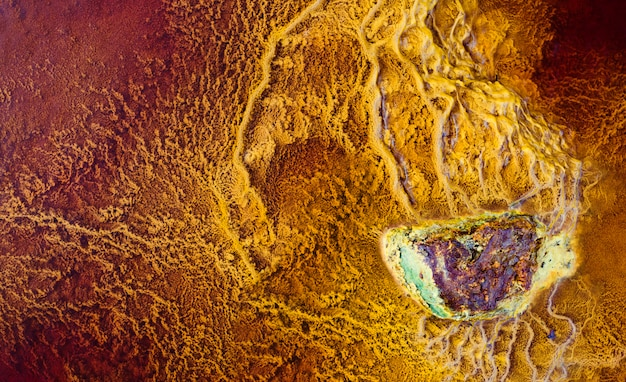 ストロマトライトに囲まれた鉱物岩
