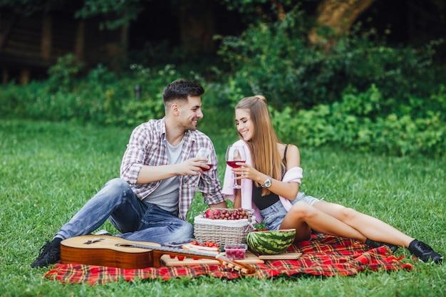 愛の物語。屋外のピクニックの時間を楽しんでいる美しいカップルは、毛布のカーペットに座っています。