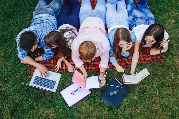 緑の芝生のキャンパスに横たわって勉強している学生のグループ