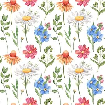 野生の花とのシームレスな水彩パターン