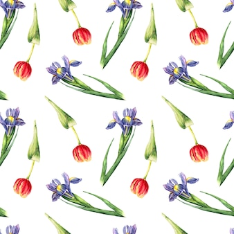 手のシームレスパターンを描いたアイリスとチューリップの花