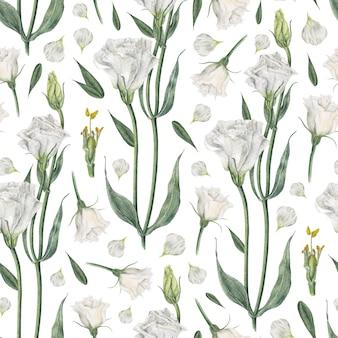 白のトルコギキョウと水彩のシームレスパターン