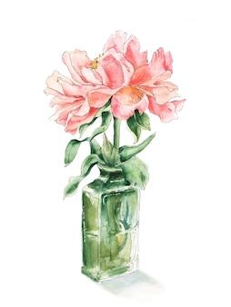 緑色のガラス瓶の中のピンクの牡丹