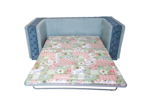 白で隔離される睡眠のための拡張マットレス付き布製ソファ