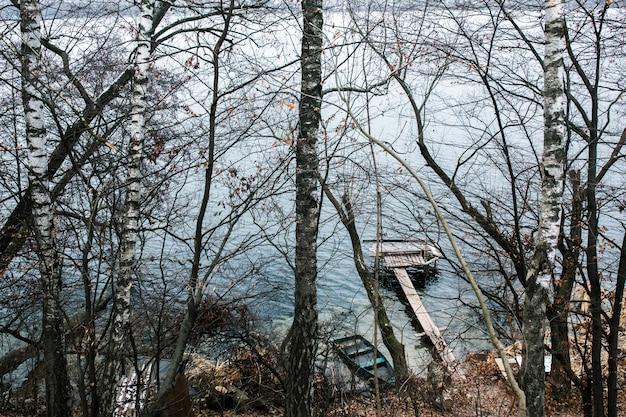 冬の風景のシーズン反射湖