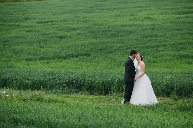 牧草地で新婚夫婦