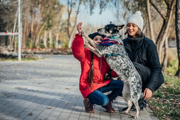 幸せな母と娘が秋の公園で犬と遊んで