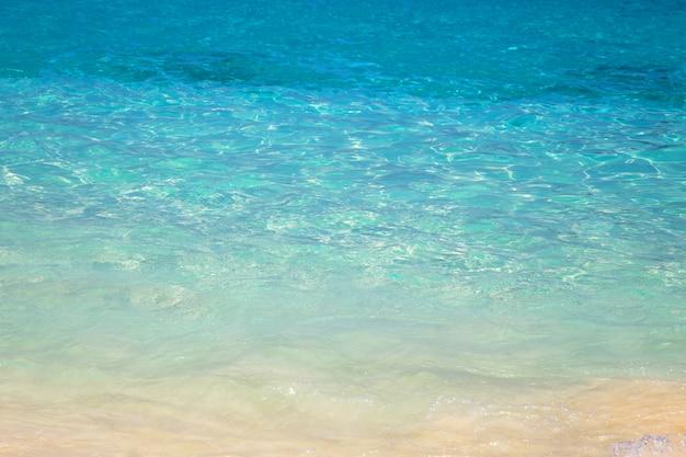 Песчаный пляж и голубая чистая вода моря