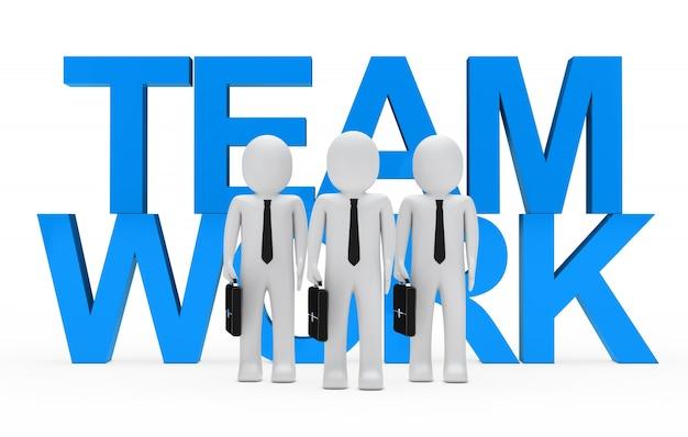 青い単語「チームワーク」反対縫いぐるみ人形
