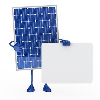 太陽電池パネルは、テキストのためのプラカードでポーズ