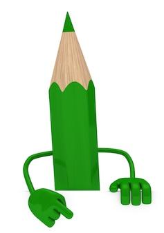 空白記号の付いた緑色の鉛筆