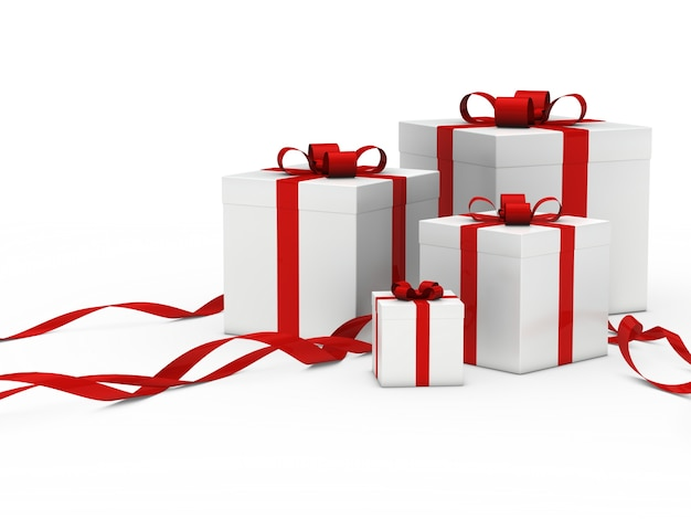 Белые подарочные коробки с красной лентой