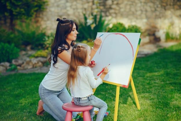 母と娘の絵