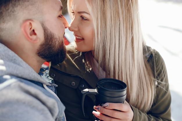 冬の公園でエレガントなカップル