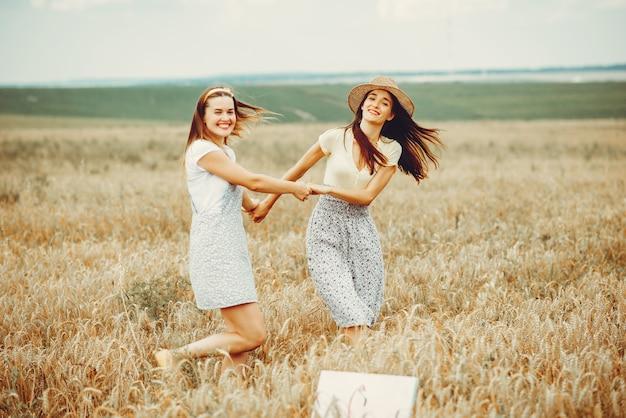 Красивые девушки отдыхают в поле