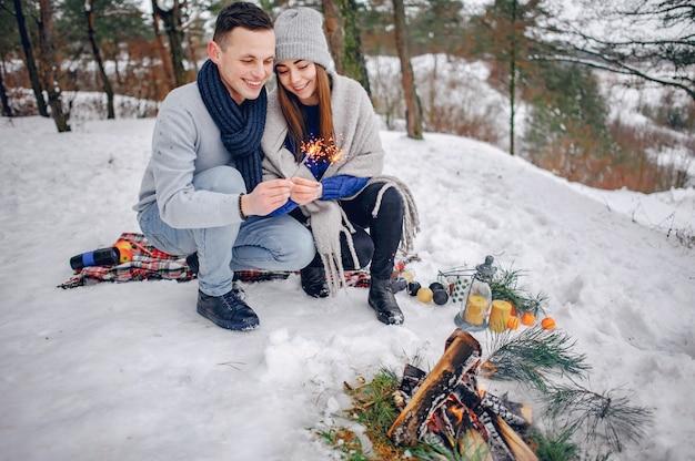 Милая и любящая пара в зимнем лесу