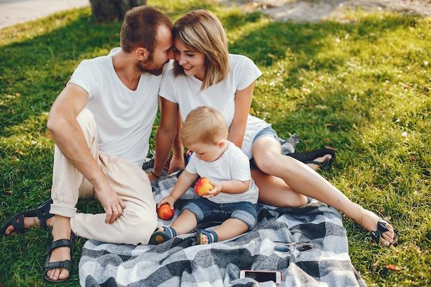 夏の公園で遊ぶ息子と家族