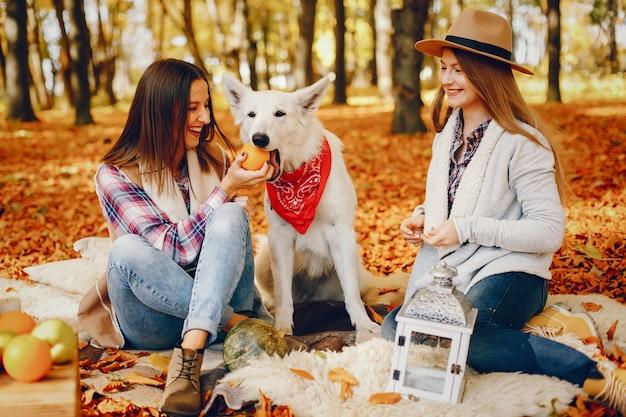 美しい女の子が秋の公園で楽しんでいます