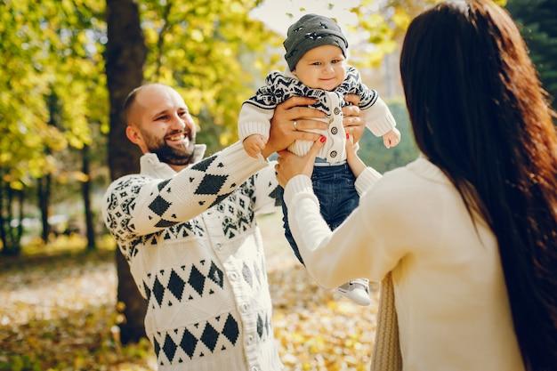 秋の公園で息子と家族