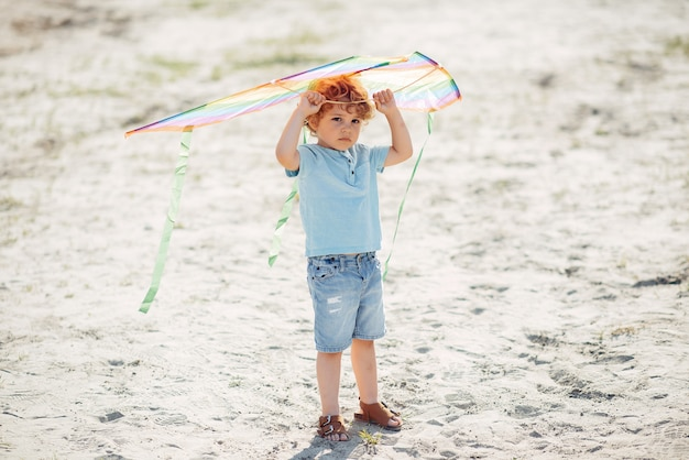 Милый маленький ребенок в летнем поле с воздушным змеем