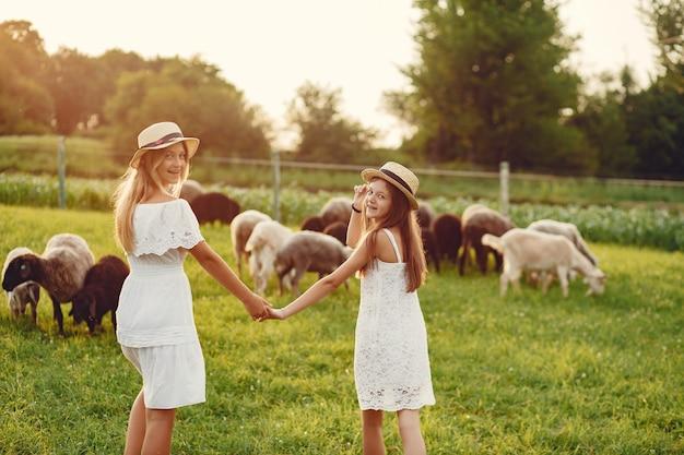 Две милые девушки в поле с козами