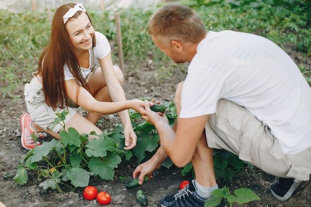 Красивая пара работает в саду