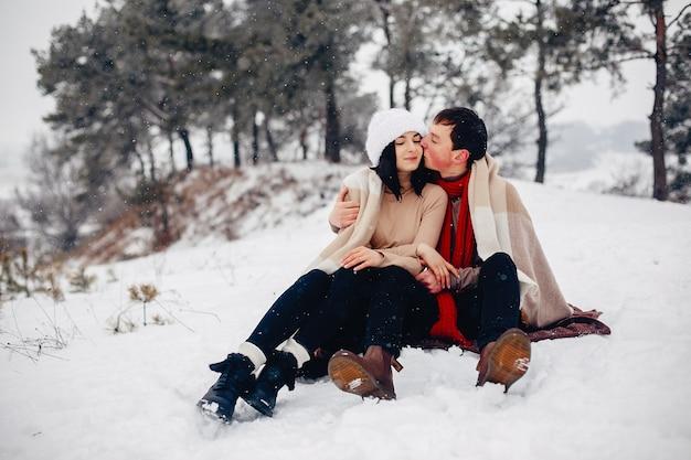 冬の公園を歩いて愛するカップル