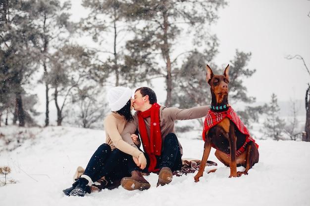 Влюбленная пара гуляет в зимнем парке