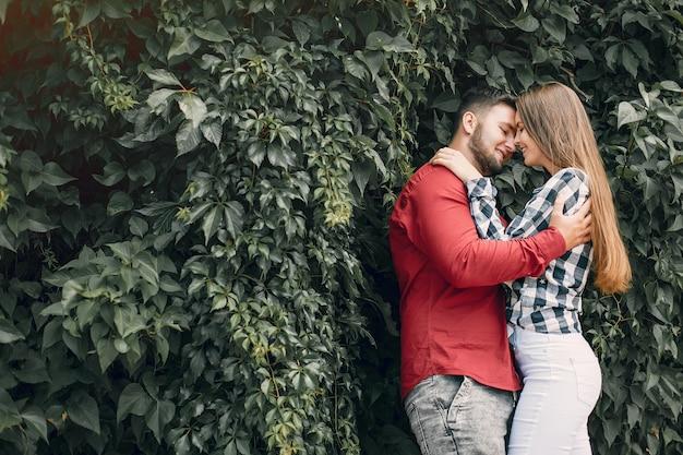 美しいカップルは夏の公園で時間を過ごす