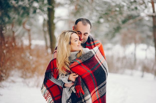 彼女の夫と冬の公園で美しい女性