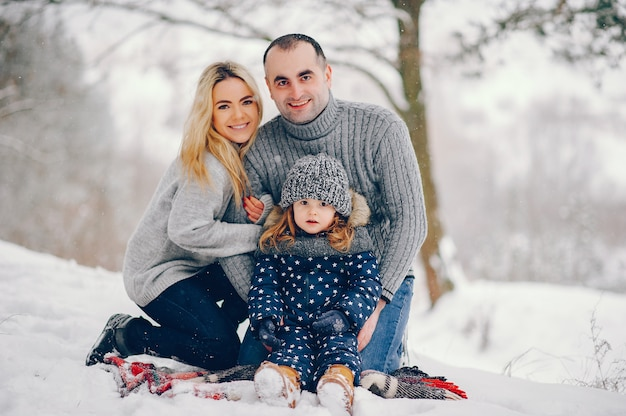 冬の公園で毛布の上に座って両親と小さな女の子