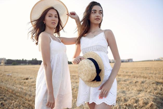 Красивые элегантные девушки в осеннем пшеничном поле