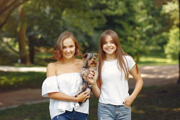 小さな犬と遊ぶ公園でかわいい女の子