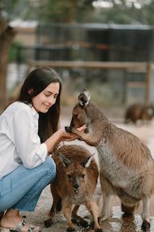 予備の女性はカンガルーと遊んでいます