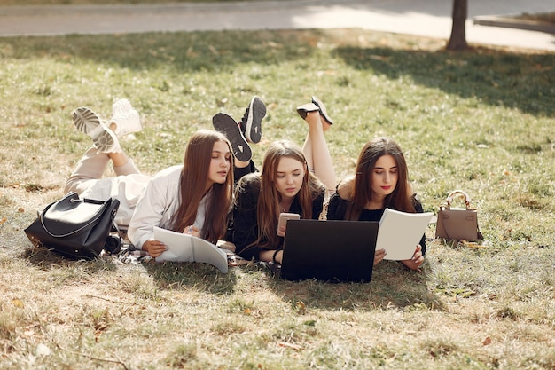Трое студентов сидят на траве с ноутбуком