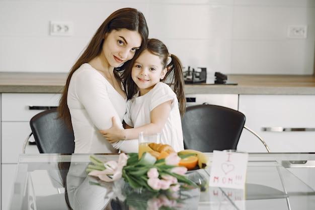 Мать с дочерью дома