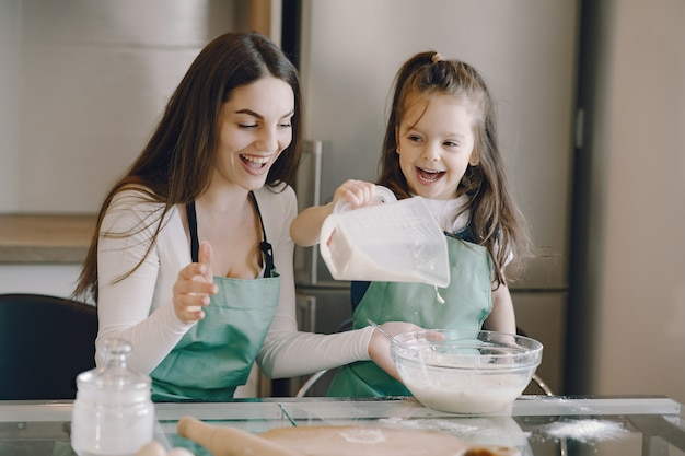 Мать и дочь готовят тесто для печенья