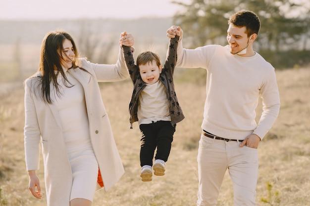 日当たりの良いフィールドの上を歩くスタイリッシュな家族