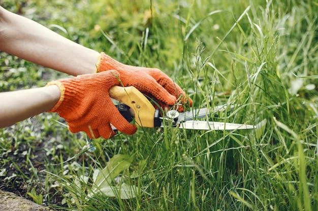 庭のはさみで茂みをトリミングしている人