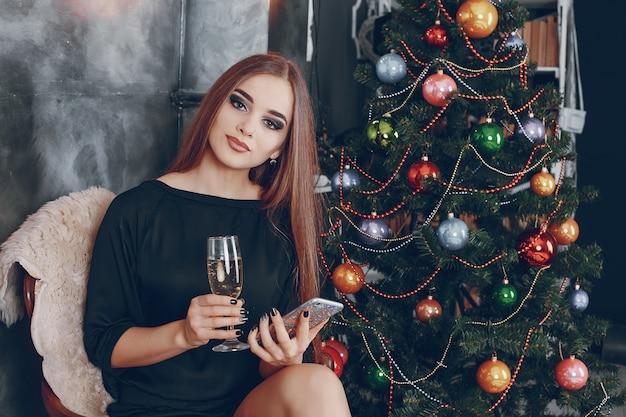 女の子、シャンパン